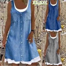 denim dress, Summer, dressesforwomen, Dresses
