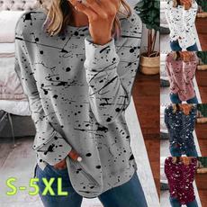 blouse, roundnecktopsforwomen, Plus Size, longsleevetopsforwomen