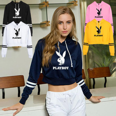 playboy, hooded, navel, Pullovers