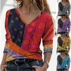 shirtsforwomen, sleeve v-neck, Plus Size, Shirt