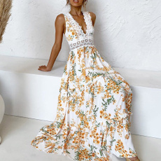 printeddres, Lace, Deep V-neck Dress, fashion dress