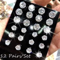 Cubic Zirconia, Steel, earrings jewelry, Jewelry
