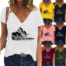 Summer, Plus Size, blouse, short sleeves