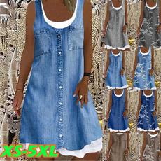denim dress, Summer, dressesforwomen, Denim