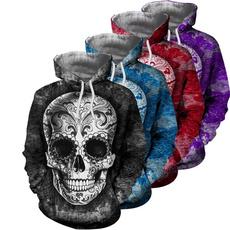 3D hoodies, printed sweatshirt, Sleeve, skull