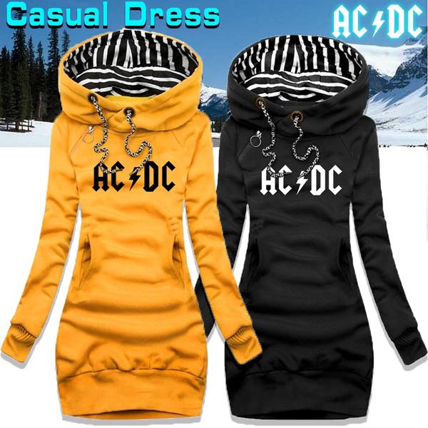 slim dress, hooded, Winter, Long Sleeve