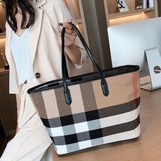 largecapacityhandbag, women bags, plaid, largecapacitybagforwomen