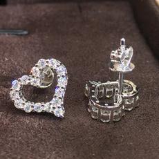 loverearring, Sterling, DIAMOND, Silver Earrings