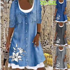 dressesforwomen, Long Sleeve, Spring, Denim
