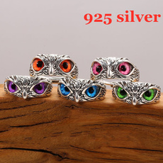 Owl, animalring, Jewelry, 925 silver rings