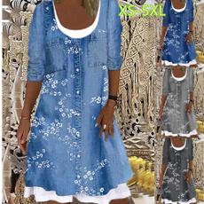 denim dress, printeddres, Long Sleeve Dresses, Sleeve