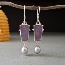 Sterling, opalearring, Gemstone Earrings, pearls