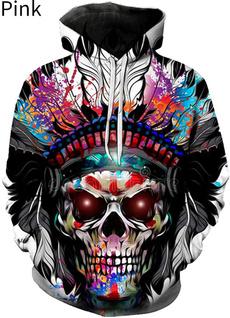 3D hoodies, Fashion, Long Sleeve, skullhoodie
