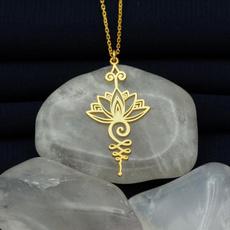 ladystemperamentnecklace, newladiesnecklace, Jewelry, lotuspendantgoldplatednecklace