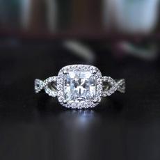 White Gold, DIAMOND, 925 silver rings, Classics
