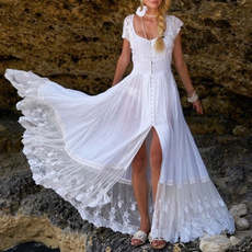 Summer, sleeve lace, Lace, long dress
