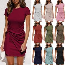 Summer, short sleeve dress, Mini, ladies dress