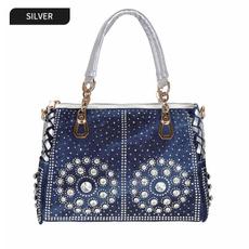 DIAMOND, Casual bag, fashion bags for women, Denim