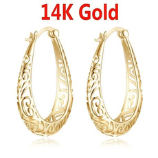 """14"""", gold, Stud Earring, solid"""