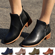 ankle boots, fashion women, Plus Size, leather shoes