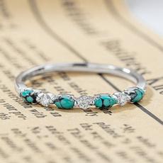 White Gold, Turquoise, DIAMOND, wedding ring
