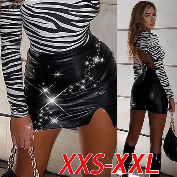 Shorts, high waist, PU, leather