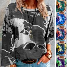 plussizeprintingshirt, Outdoor, printinglooselongsleevetshirt, Necks