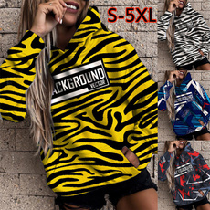 Plus Size, pullover hoodie, letter print, Zebra Print