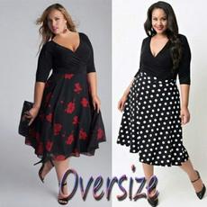 Plus Size, Rose, Dress, V-neck