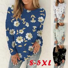 Plus Size, Floral, T Shirts, Fashion