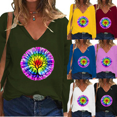 women pullover, Deep V-Neck, Plus Size, Graphic T-Shirt