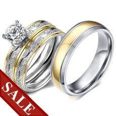Couple Rings, Steel, DIAMOND, Princess