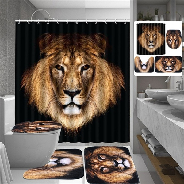 Decor, lionshowercurtain, bathroomdecor, animeshowercurtain