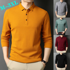 Fashion, men fashion, lapelpoloshirt, Long Sleeve