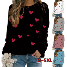 Heart, Plus Size, Women Blouse, printed shirts