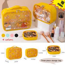 cartoonpatterncosmeticbag, threepiececosmeticbag, transparenttoiletbag, transparentcosmeticbag
