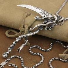 necklaces for men, punk necklace, Chain, skullpendant
