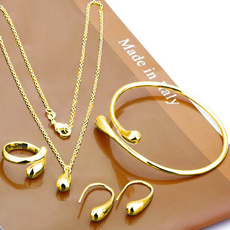 Ear Drops, Set, Chain, gold