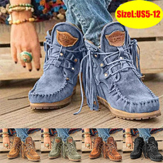 ankle boots, Tassels, Plus Size, Winter