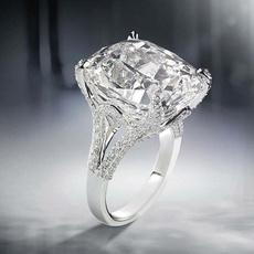 White Gold, DIAMOND, 925 silver rings, Engagement Ring