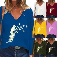 Deep V-Neck, Printed T Shirts, Shirt, Women Blouse