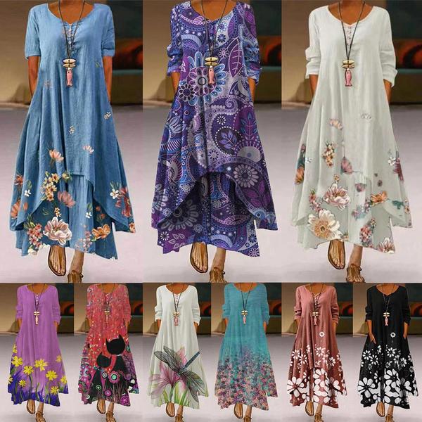 long skirt, dressesforwomen, Long Sleeve, plus size dress