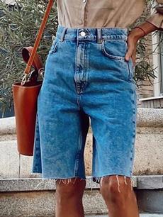 Summer, washedshort, Waist, pants