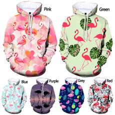 3D hoodies, flamingo, hooded, Sleeve