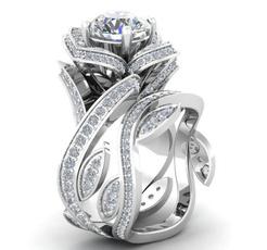 Sterling, crystal ring, leaf, zirconring