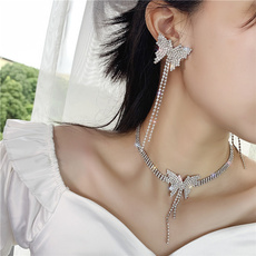 butterfly, clavicle  chain, Chain Necklace, butterfly earrings