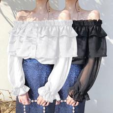 Plus Size, ruffle, partyshirt, Long Sleeve