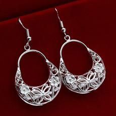 Dangle Earring, butterfly, Hoop Earring, 925 sterling silver