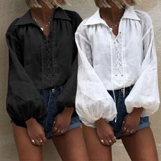 Plus Size, Lace, Long Sleeve, laceupshirt