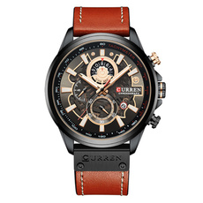 Chronograph, quartz, leather strap, wristwatch